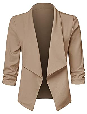 JSCEND Women's Casual Stretch 3/4 Sleeve Open Front Blazer Cardigan Jacket (S-3XL) - Made in USA