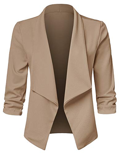 JSCEND Women's Casual Stretch 3/4 Sleeve Open Front Blazer Cardigan Jacket A-Mocha 1XL