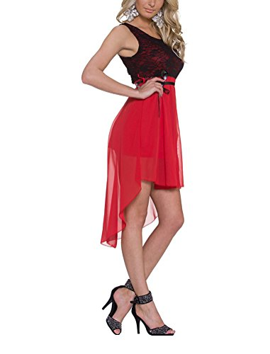 Robe Sans Femmes Mousseline de soie Robe lgantes Rouge Manche Soire Brinny en Mini Jupe de HtRHUFW