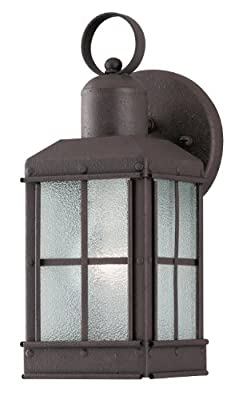 Westinghouse Lighting 6468100 One-Light Exterior Wall Lantern, Textured Rust Patina Finish on Steel with Ice Glass Panels