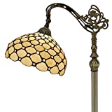 Tiffany Style Reading Floor Lamp Crystal Pear Bead Stained Glass Lampshade in 64 Inch Tall Antique Arched Base for Girlfriend Bedroom Living Room Lighting Table Set S005 WERFACTORY