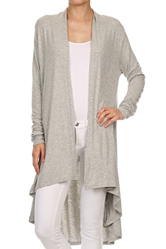 ReneeC. Women's Natural Bamboo Solid Open Front Draped Cardigan - Made in USA (X-Large, Grey)