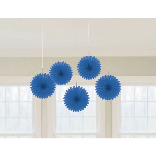 (amscan Bright Royal Blue Mini Paper Hanging Fans, 5 Ct. | Party Decoration)