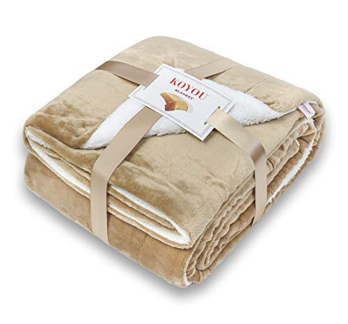 KOYOU Super Soft Light Brown Camel Plush Sherpa Borrego Blanket Throw Queen or Full Size Bed ()