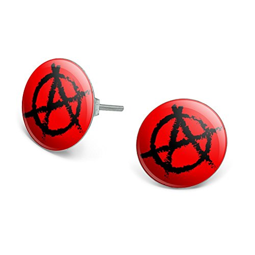 - GRAPHICS & MORE Anarchy Symbol Red Novelty Silver Plated Stud Earrings