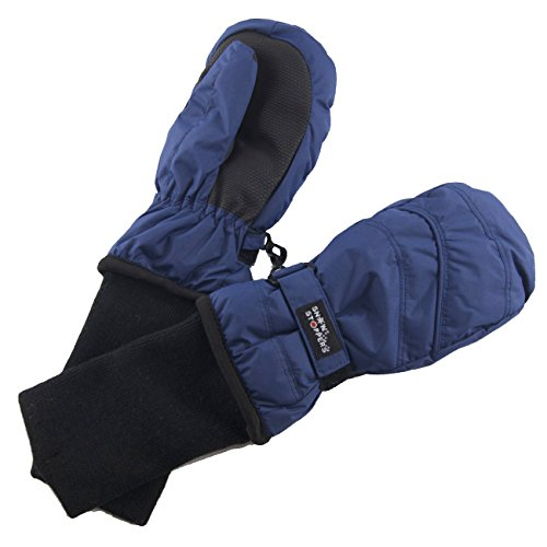 SnowStoppers Kid's Waterproof Stay On Winter Nylon Mittens Medium / 2-5 Years Navy blue