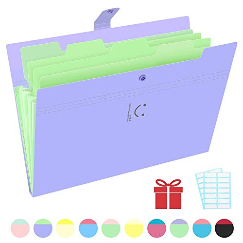Phyxin Expanding File Folders 5 Pockets Document Organizer A4 Letter Size Plastic File Folder with Lables Document Holder for Business School Supplies Purple