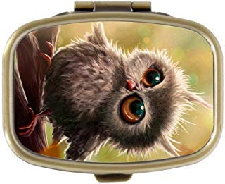 Queen Ali Custom Ool Cute Hipster Vintage Groovy Owl Monogram Decorative Bronze Square Pill Box Medicine Case Holder Pillbox Tablet Gift