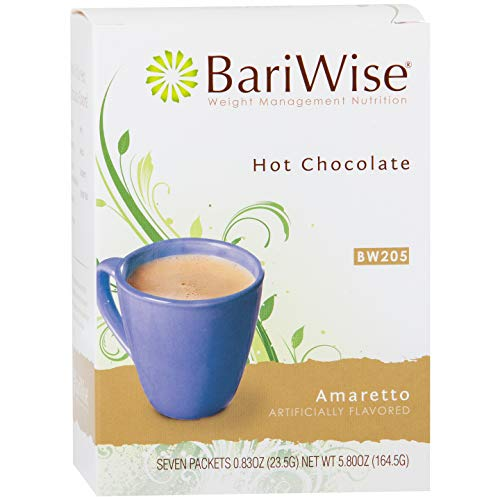 BariWise High Protein Hot Cocoa - Instant Low-Carb, Low Calorie Hot Chocolate Mix with 15g Protein - Amaretto (7 Count)