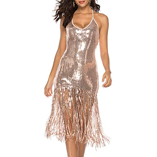 Womens Fringe Sequin Strap Backless 1920s Flapper Party Mini Dress (Gold, XL)
