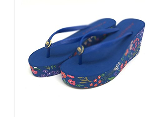 SCLOTHS pendiente inferior seaside Flip Flops con Timbro grueso verano Mujer Chanclas blu TqA7rT