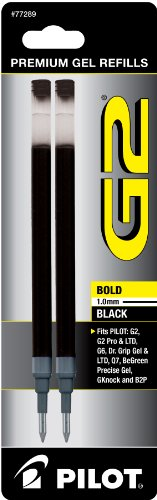 Ballpoint Bold Black Ink (Pilot G2 Gel Ink Refill, 2-Pack for Rolling Ball Pens, Bold Point, Black Ink (77289))