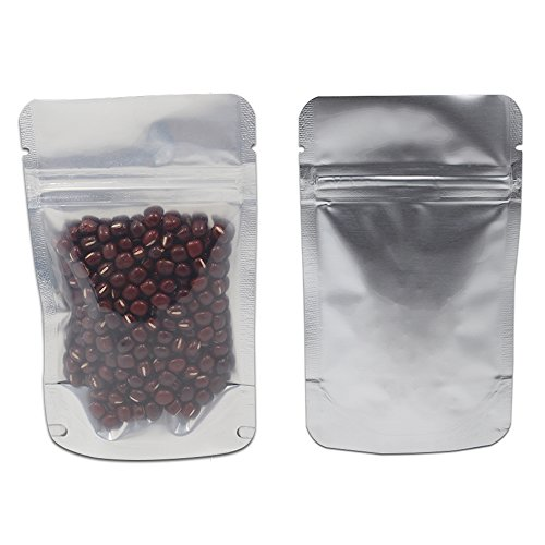 (3.1x5.1 inch) 100 Pieces Stand Up Clear Plastic Pure Silver Aluminum Foil Zip lock Packing Bag Dried Food Storage Packaging Pouch Ziplock Snack Nuts Coffee Package Bag Heat Seal Moisture-proof