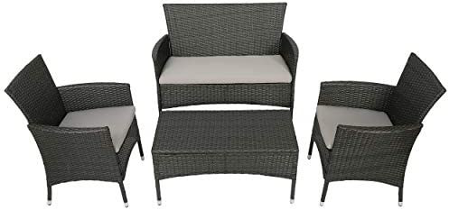 Great Deal Furniture Olivera Outdoor 4-Piece Grey Wicker Chat Set