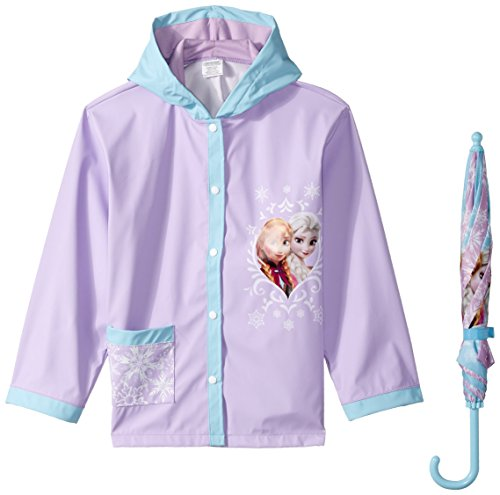 Disney Girls' Little Fantasia Frozen Elsa Umbrella Raincoat Set, Multi, Medium/Large
