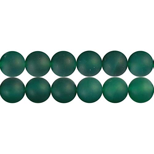 8mm Green Stone Beads for Jewelry Making Matte Natural Agate Sold by One Strand APX 46 Pcs Hole Size - Beads Gemstone Agate Green Spot