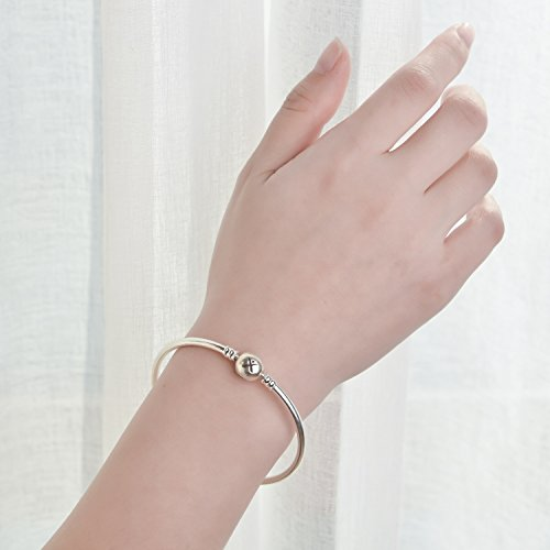 Changeable 925 Sterling Silver Women Charms Bracelet (Smooth Bangle) 19CM by Changeable (Image #6)