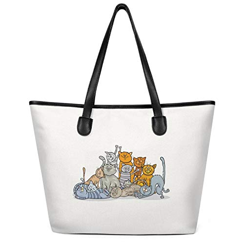 (Fashion Oversized Canvas Fat Cat Charm Art Tote Bag Reusable Books Bag)