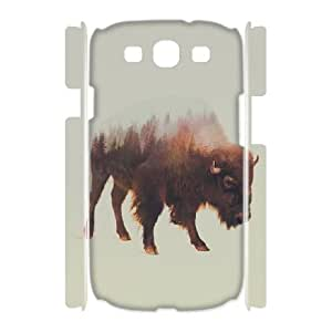 3D Bison Samsung Galaxy S3 Cases, Elegant Samsung Galaxy S3 Case I9500 Doah {White}