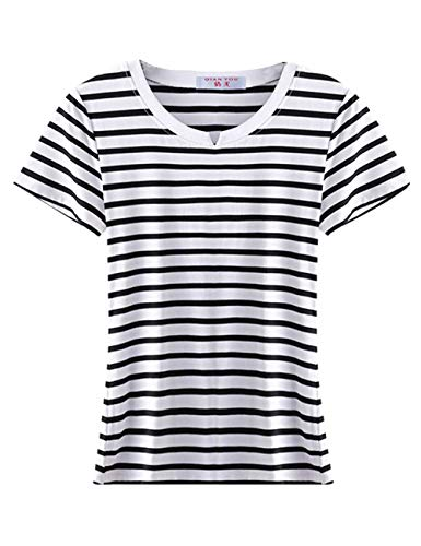 (LRT Womens Slim Fit Striped Shirts Turtle Neck Blouses (Free, White-Short))