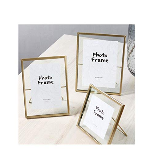 Set of 3 Glass Photo Frame Collection Simple Metal Geometric Picture Frame with Plexiglas Cover Includes 4 x 4, 4 x 6, 5X 7 Free Standing ()