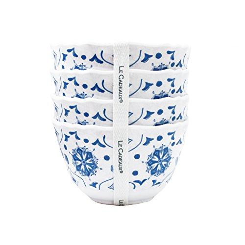 Le Cadeaux Moroccan Blue Melamine Dessert Bowls - Set of 4 by Le Cadeaux