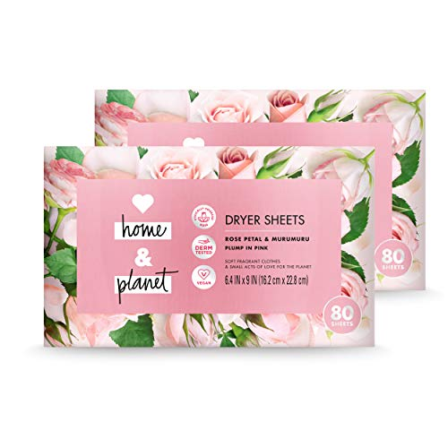 (Love Home and Planet Dryer Sheets Rose Petal & Murumuru 80 Count (Pack of 2))