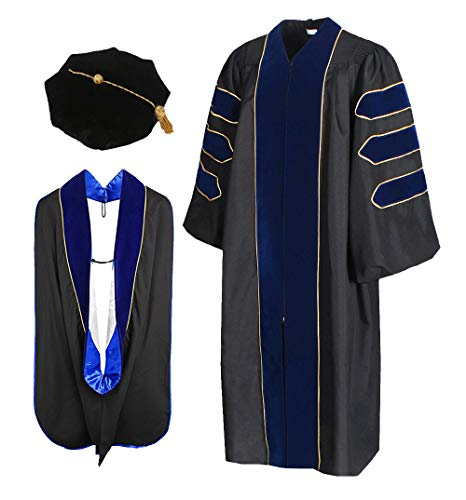Cap and Gown Direct Royal Blue Doctoral Graduation Gown with Red Piping Hood(Roy-Roy-wht) and 8-Sided Tam ()