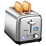 2 Slice Toaster, HOLIFE Stainless Steel Toaster [LCD Timer Display] Bagel Toaster (6 Bread Shade Settings, Bagel/Defrost/Reheat/Cancel Function, Extra Wide Slots, Removable Crumb Tray, 900W, Silver)