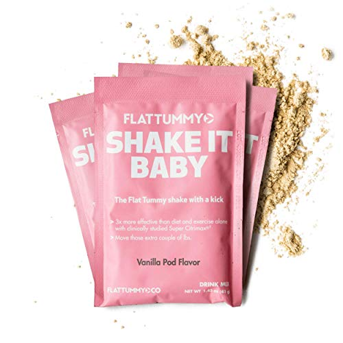 Flat Tummy Shake It Baby Protein Shakes - 20 Meal Replacement Packs, Vanilla Flavor with clinically studied Super Citrimax/Garcinia Cambogia to Control Appetite and move those Stubborn lbs