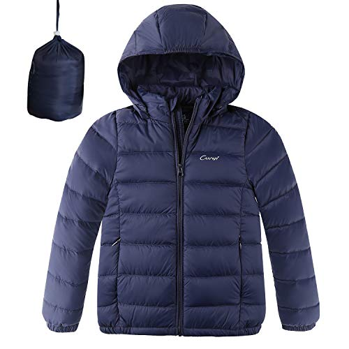 CUNYI Boys Girls Hooded Portable Lightweight Down Jacket Coats, Navy Blue, 7-8/140