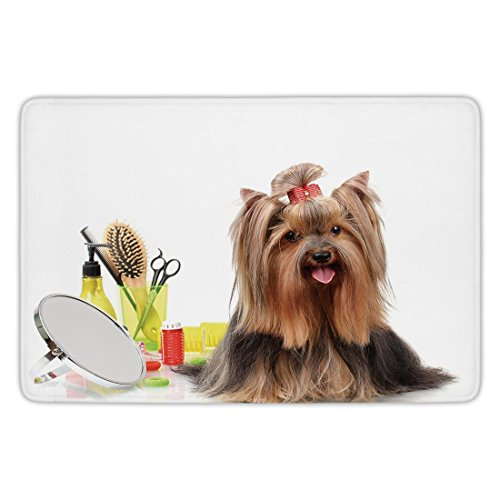 Bathroom Bath Rug Kitchen Floor Mat Carpet,Yorkie,Yorkshire Terrier with Stylish Hairdressing Equipment Mirror Scissors Decorative,Dark Brown Multicolor,Flannel Microfiber Non-slip Soft Absorbent by iPrint