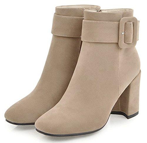 IDIFU Womens Fashion Faux Suede Side Zipper High Chunky Heel Ankle High Boots Beige 1wpZY