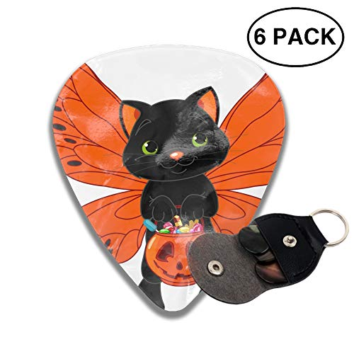 Guitar Picks Cute Halloween Cat Celluloid Thin Medium Heavy Bass 3D Printed Variety Pick Small Music Gifts Grip -6pcs ()