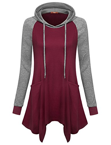 Gaharu Hooded Sweatshirt Dress, Ladies Fashion Tunic Hoodies Raglan Sleeve Tops Round Neck Dressy Pocket Shirts Wine,XXL