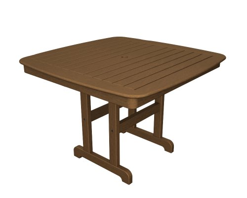 "POLYWOOD NCT44TE Nautical Dining Table, 44-Inch, Teak - Stylish 44"" dining table offers room for four and is made with fade-resistant POLYWOOD recycled lumber POLYWOOD recycled HDPE lumber has the look of painted wood without the upkeep real wood requires; requires no painting, staining or waterproofing Heavy-duty construction withstands nature's elements and is resistant to stains, insects, fungi and salt spray - patio-tables, patio-furniture, patio - 41w7kE9Gr8L -"