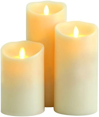Flameless Candles,Battery Operated Flickering Moving Led Wick Set, Pack of 3 4 5 6 Pillars, Remote Control 10 Key Cycling 24 Hours Timer Function, Ivory Real Wax Dancing Flame