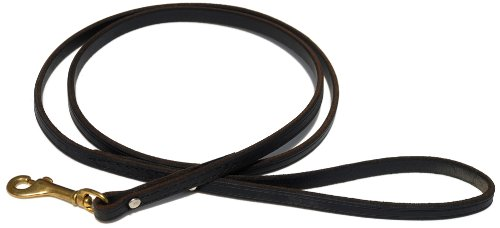 Signature K9 Standard Leather Leash, 5-Feet x 1/2-Inch, Black, My Pet Supplies