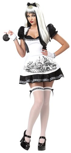 California Costumes Dark Alice Adult Costume, Black/White, Medium (Party City Alice In Wonderland Costume)