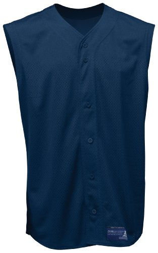 Mizuno Boy's Full Button Mesh Sleeveless Baseball Jersey, Navy, (Mizuno Full Button Sleeveless)