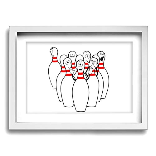 CLLSHOME 12x16 Inches Wall Decor Toilet Bathroom Framed Art Print Picture Humorous Bowling Pictures Funny Bowling Clipart Wall Art for Home Decorations