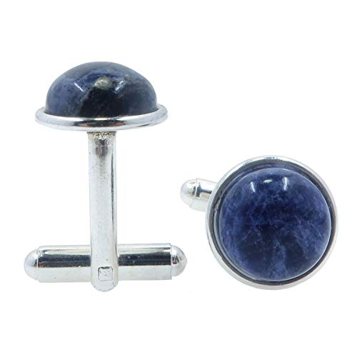 SatinCrystals Sodalite Cufflinks 12mm Boutique Blue Gemstone Polished Circle Metal Pair B01 (Silver-Plated-Brass)