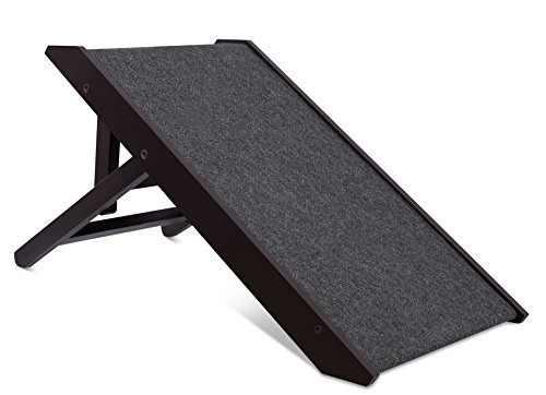 "Internet's Best Adjustable Pet Ramp | Decorative Wooden Folding Dog Ramp for Couch Bed Car | 26"" Long 