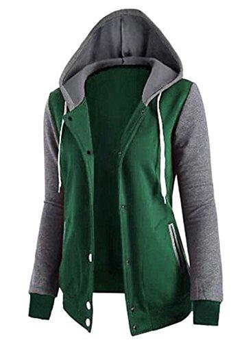 Larga Verde Manga Mujer Hoodies Sudaderas Aoliait Camisetas Jerseys de Pullover Capucha Outwear Deportivas con Abrigos Patchwork Camisas Chica Bonitas gpUcqO7