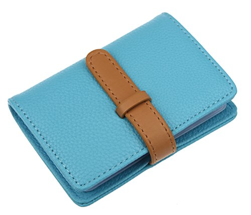 DKER PU Leather Credit Card Holder with 26 Card Slots - Book Style - Size 4.2 X 3 X 0.7 Inches (Blue) (Best Credit Cards For 640 Score)