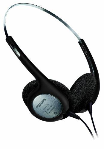 Philips LFH2236 stereo hoofdtelefoon v. dicteer- en afspeelapparaten met 3,5 mm jackplug, oorkussen, zwart/zilver