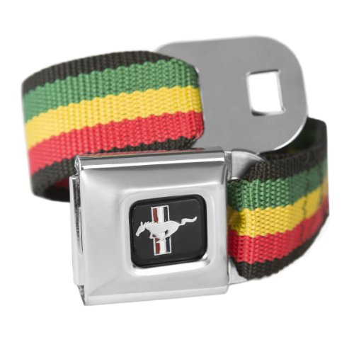 Belt Ford Seat Belt Mustang (Rasta Ford Mustang Seatbelt Buckle Fashion Belt - Officially Licensed)