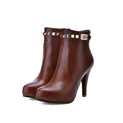 Low Pointed High Boots Heels AgooLar PU Top Women's Toe Closed Brown Zipper X68E4