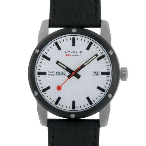Mondaine A667.30338.11SBB - Reloj analógico de caballero de cuarzo con correa de piel negra - sumergible a 100 metros: Amazon.es: Relojes