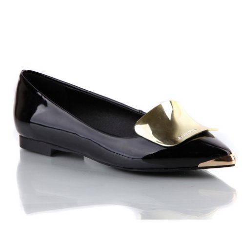 Shallow Toe with Piece Black PU WeenFashion Mouth Patent Women's Heel Flat Pumps Pointed Leather Metal xnOPTwO